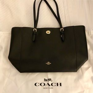 Black Coach Tote Bag with Gold Finishes